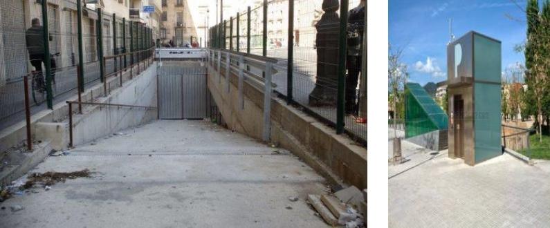 caceresverde-obra-parking-primo-de-rivera-rampa-ascensor